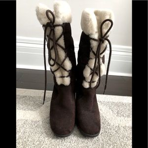STEVE MADDEN Brown suede shearling/faux fur boot 6